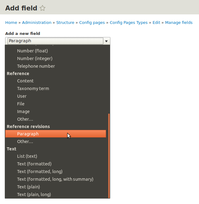 Adding Paragraphs types field to the Config Pages entity.